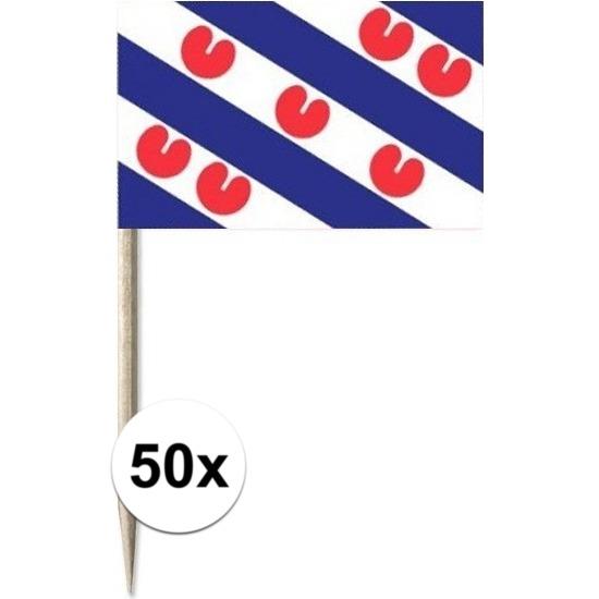 50x Cocktailprikkers Friesland 8 cm vlaggetje provincie decorati