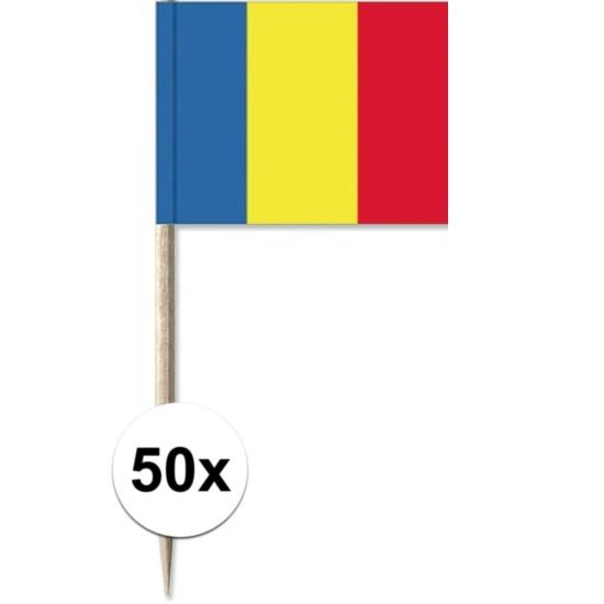 50x Cocktailprikkers Roemeni? 8 cm vlaggetje landen decoratie