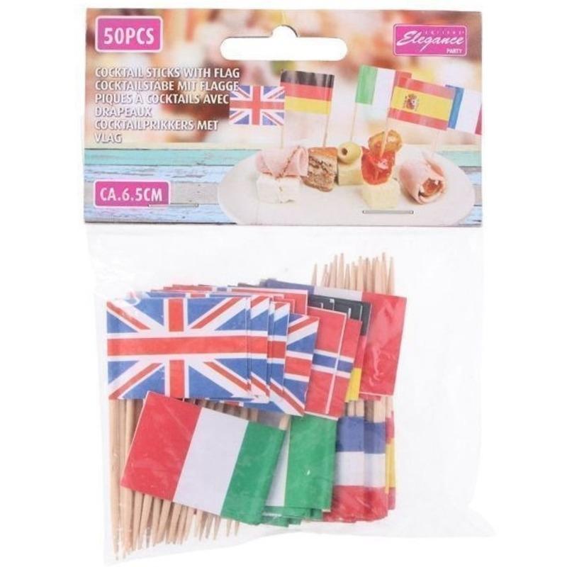 50x Europese landen vlaggetjes cocktailprikkers