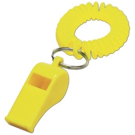 50x Gele fluitjes aan polsbandje