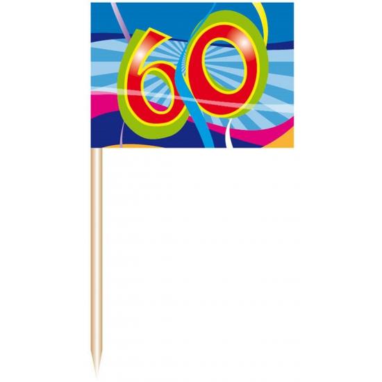 50x stuks cocktail prikkers 60 jaar verjaardag