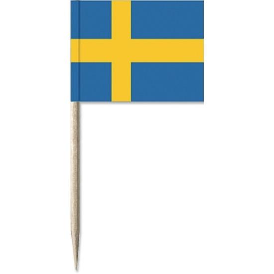 50x stuks Cocktailprikkers Zweden 8 cm vlaggetje landen decoratie