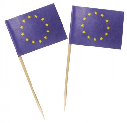 50x stuks grote cocktailprikkers Europa met vlaggetje van 3.5 x 5 cm