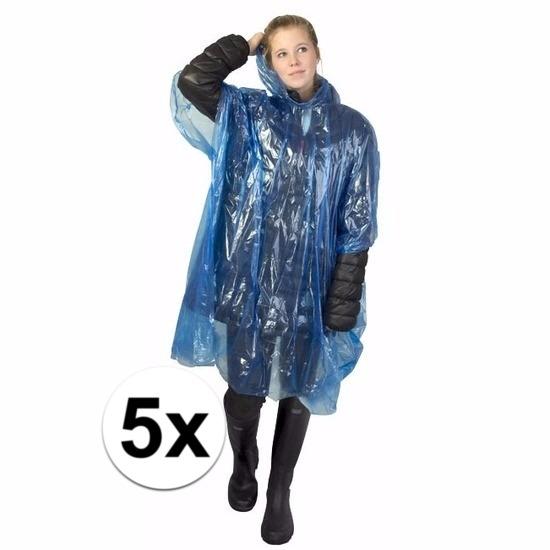 5x blauwe poncho met capuchon voor volwassenen