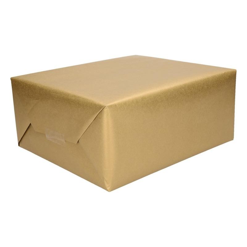 5x Cadeaupapier/inpakpapier goud 400 x 50 cm op rol