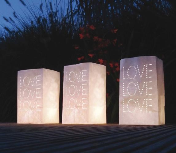 5x Candle Bags wit met LOVE sjabloon