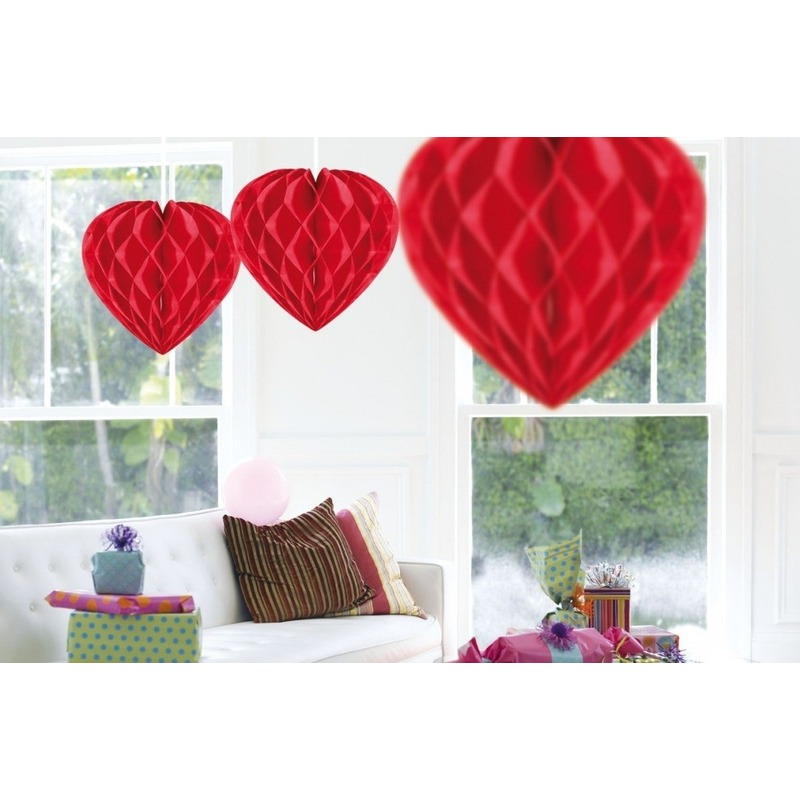 5x feestversiering decoratie hart rood 30 cm