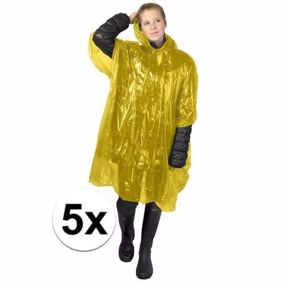5x gele poncho met capuchon voor volwassenen