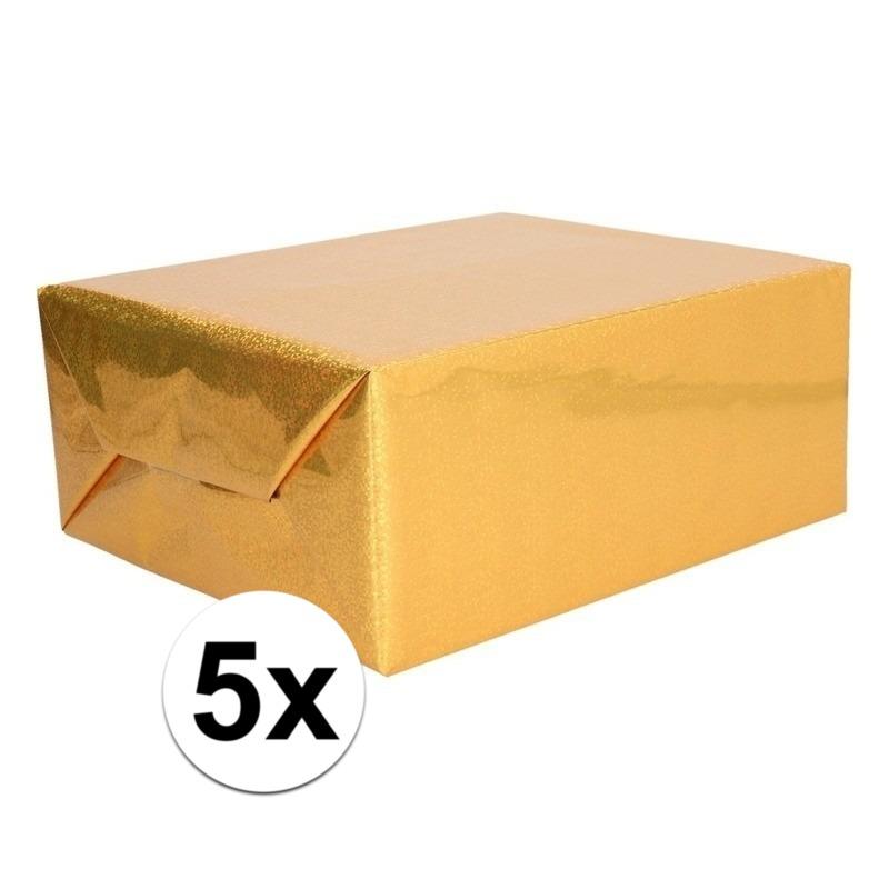5x Holografische goud metallic folie - inpakpapier 70 x 150 cm