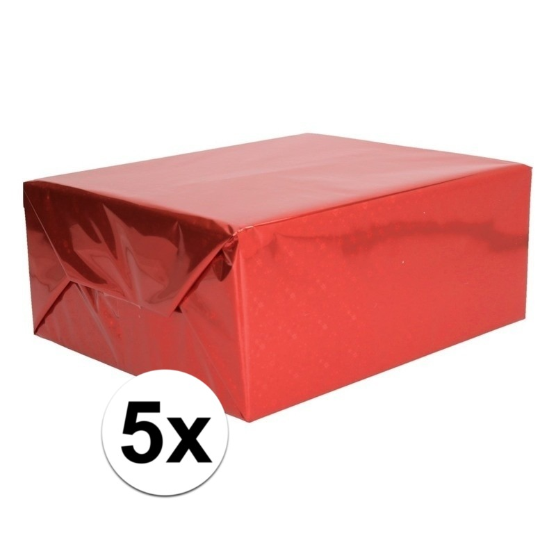 5x Holografische rood metallic folie - inpakpapier 70 x 150 cm