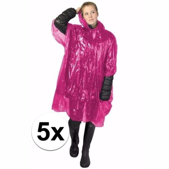 5x roze poncho met capuchon voor volwassenen