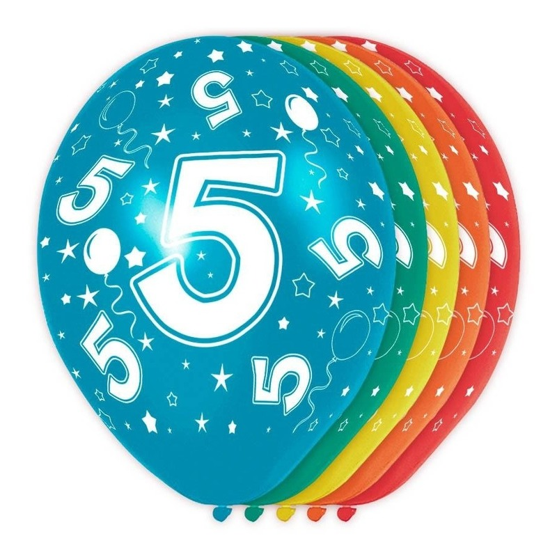 5x stuks 5 Jaar thema versiering helium ballonnen 30 cm