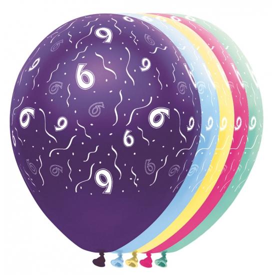 5x stuks Helium leeftijd verjaardag ballonnen 6 jaar thema