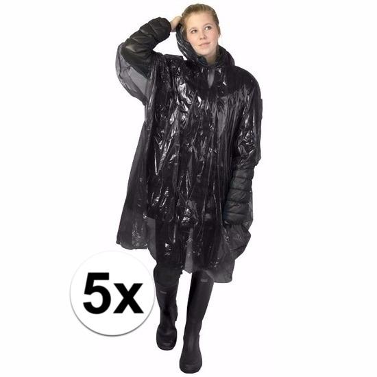 5x zwarte poncho met capuchon voor volwassenen