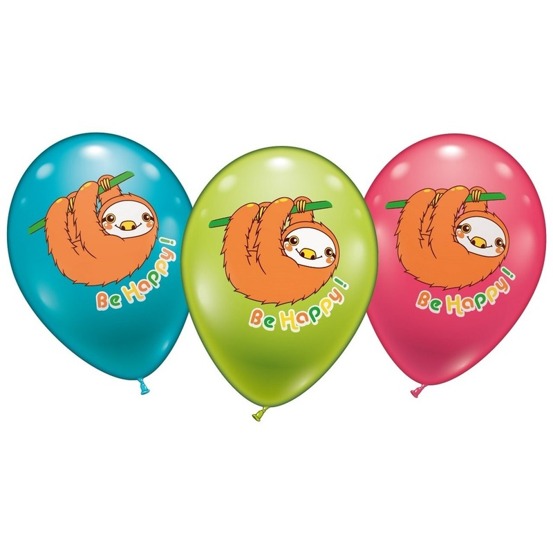 6 Luiaard ballonnen 28 cm