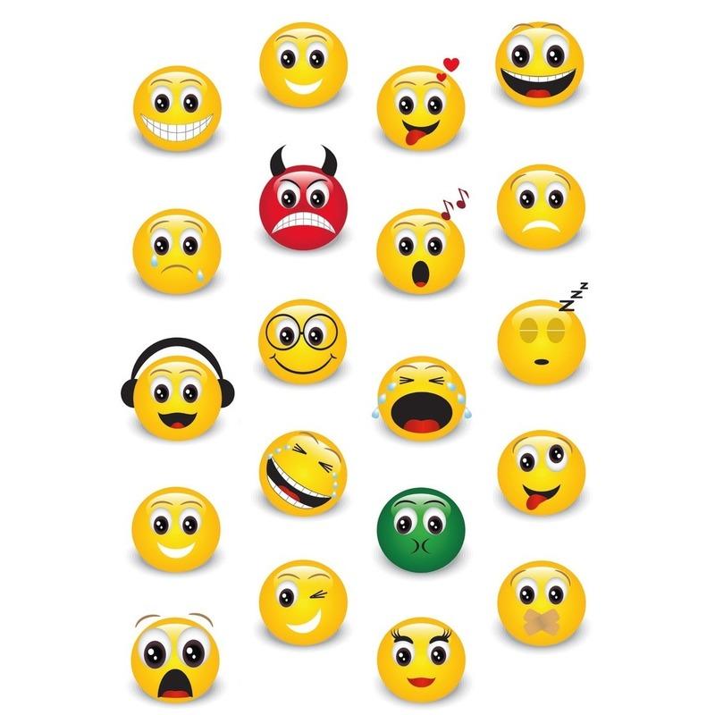 60x Smiley/Emoticons stickers met 3D effect met zacht kunststof