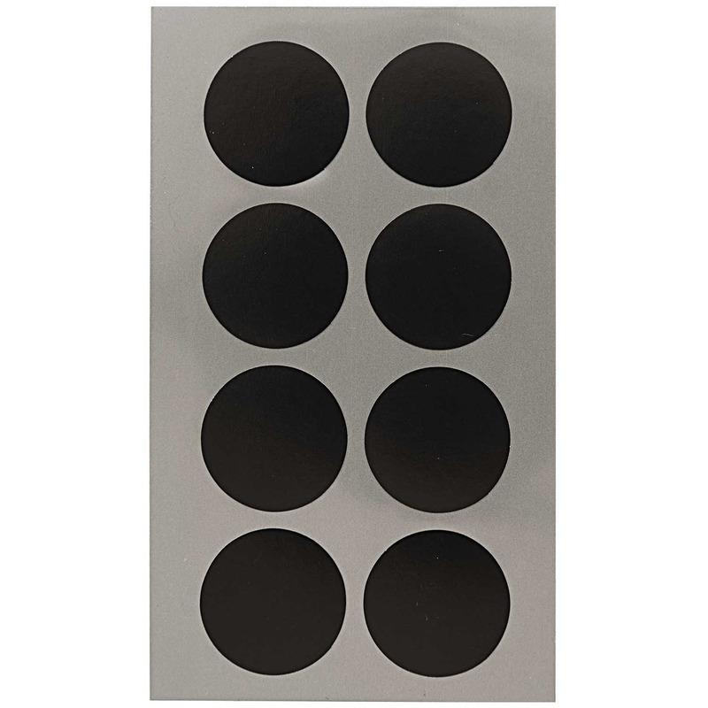 64x Zwarte ronde sticker etiketten 25 mm