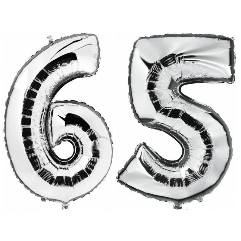 65 jaar zilveren folie ballonnen 88 cm leeftijd/cijfer