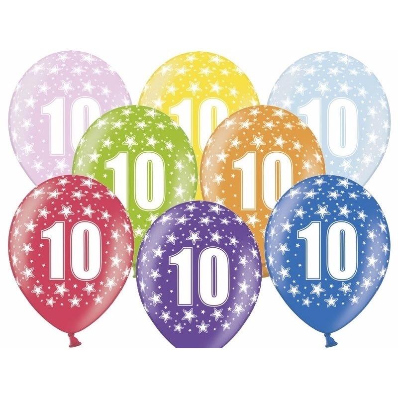 6x Ballonnen 10 jaar thema met sterretjes