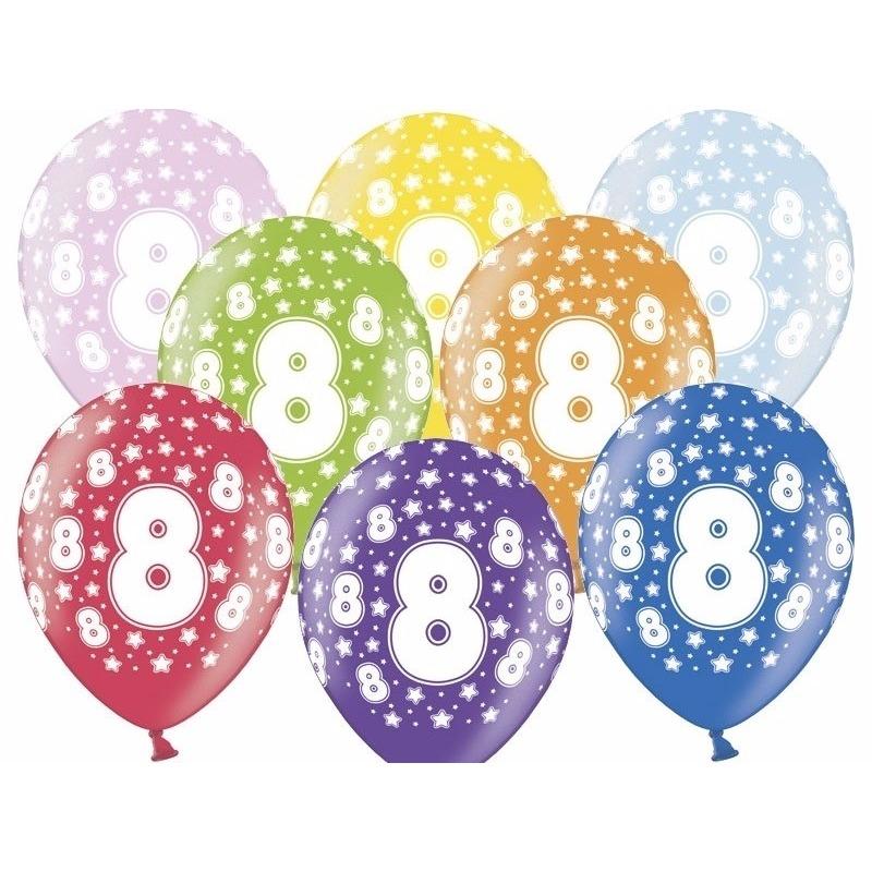 6x Ballonnen cijfer 8 met sterretjes 30 cm