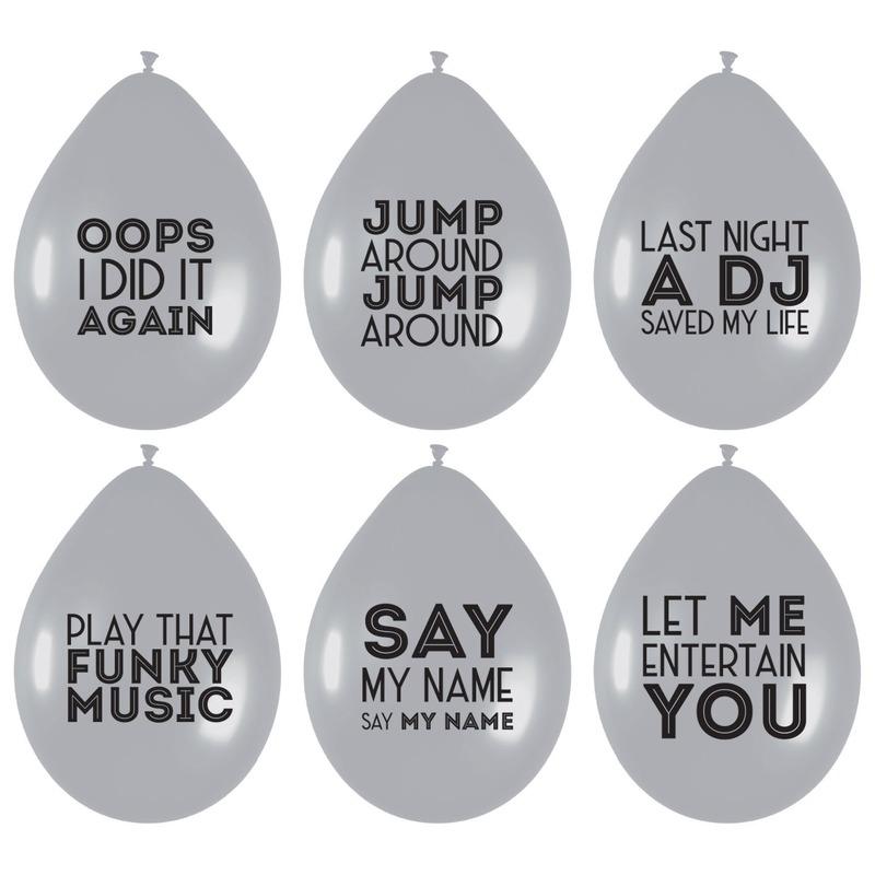 6x Ballonnen zilver met muziek quotes feest ballonnen
