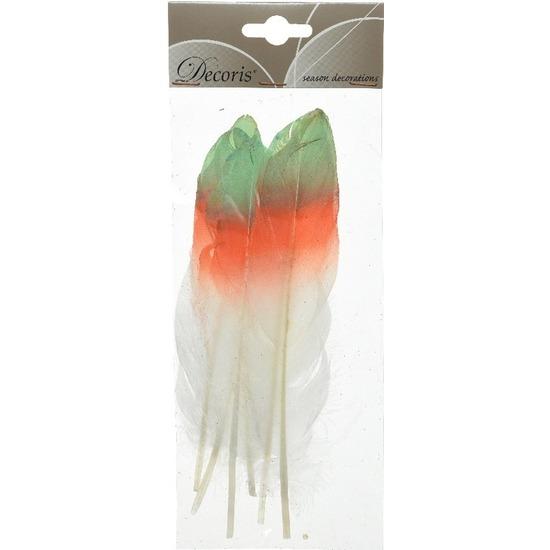 6x Groen/oranje/witte sierveren 18 cm decoraties