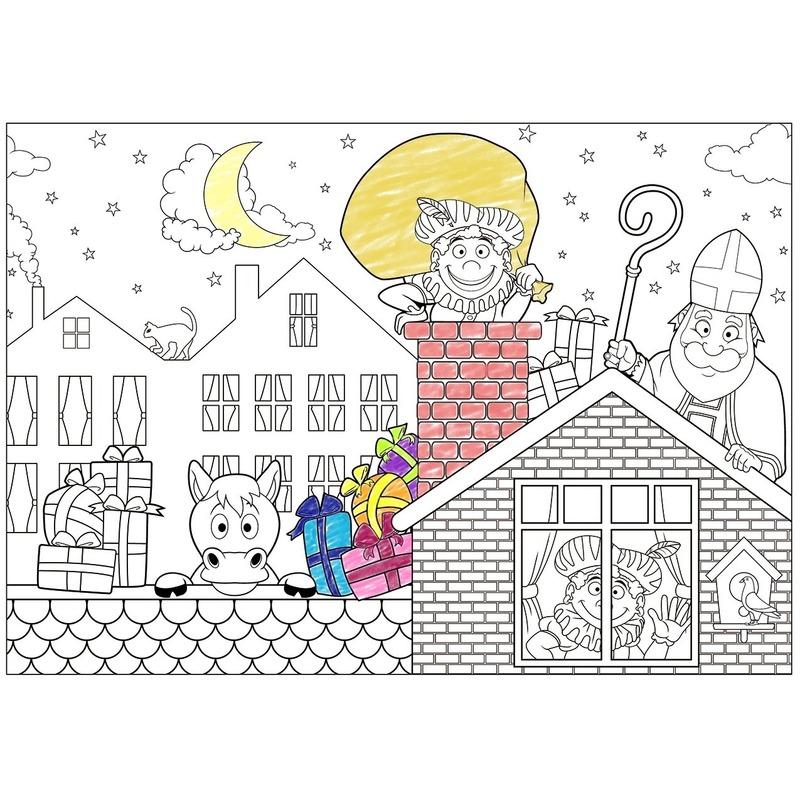 6x Papieren Sinterklaas kleurplaat placemats