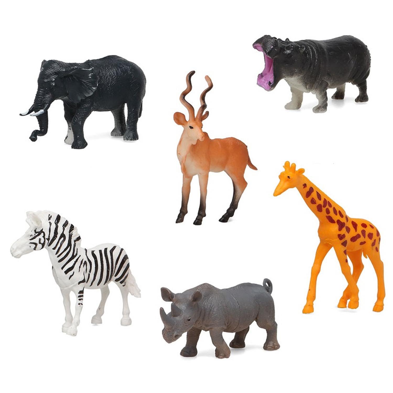 6x Plastic safari/jungle dieren speelgoed figuren 14 cm voor kinderen