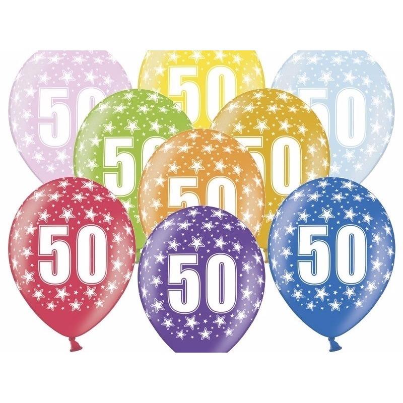 6x stuks 50e verjaardag ballonnen met sterretjes