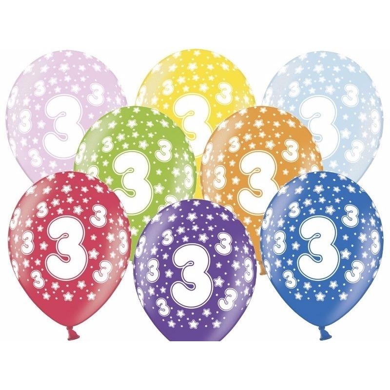 6x stuks Ballonnen 3 jaar thema met sterretjes