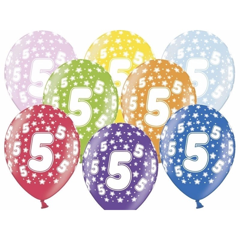 6x stuks ballonnen 5 jaar leeftijd feestartikelen