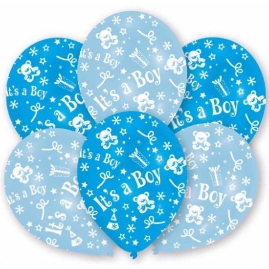 6x stuks Blauwe geboorte ballonnen jongen 27.5 cm