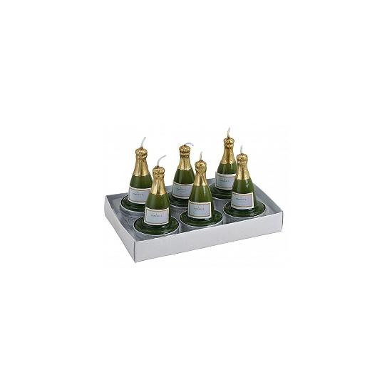 6x stuks Champagnefles theelichtjes/waxinelichtjes