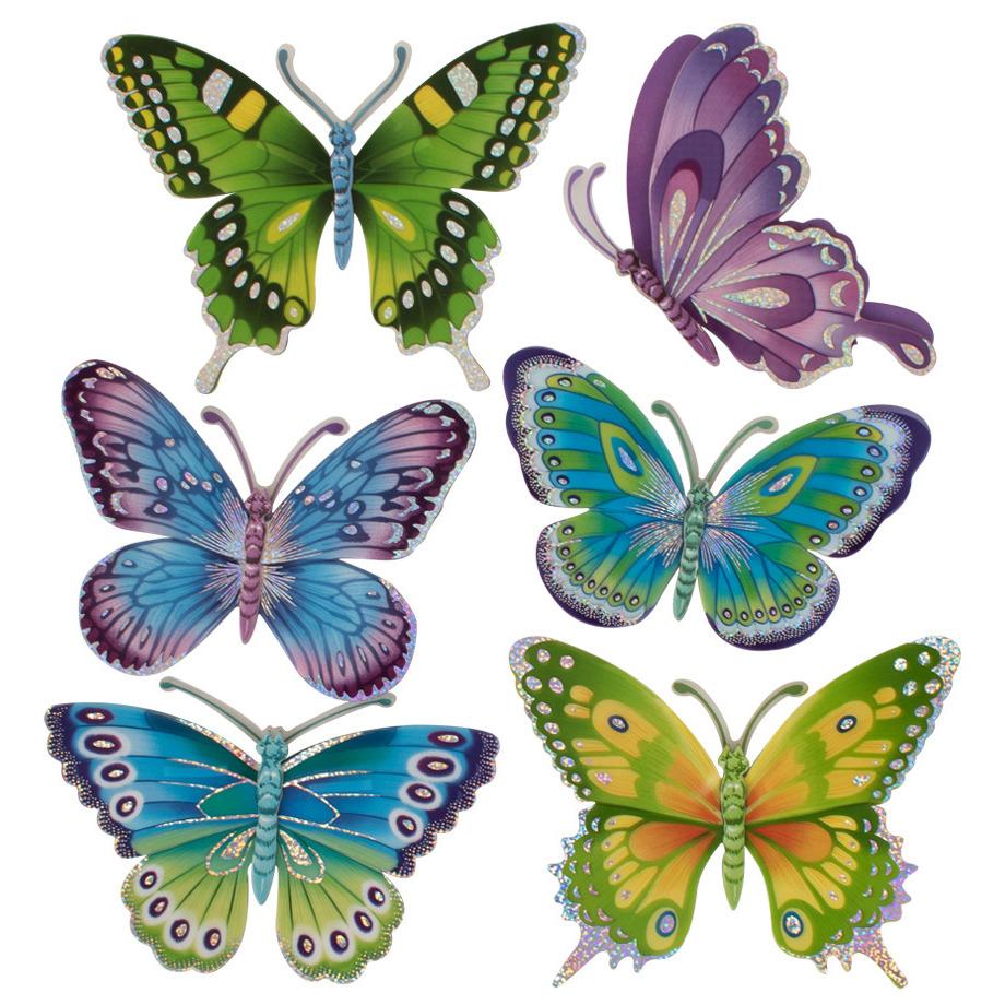 6x stuks decoratie vlinders stickers 12 cm