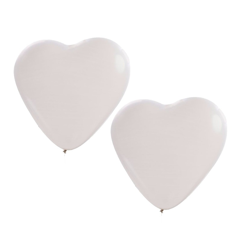 6x stuks Hartjes ballonnen wit 27 cm