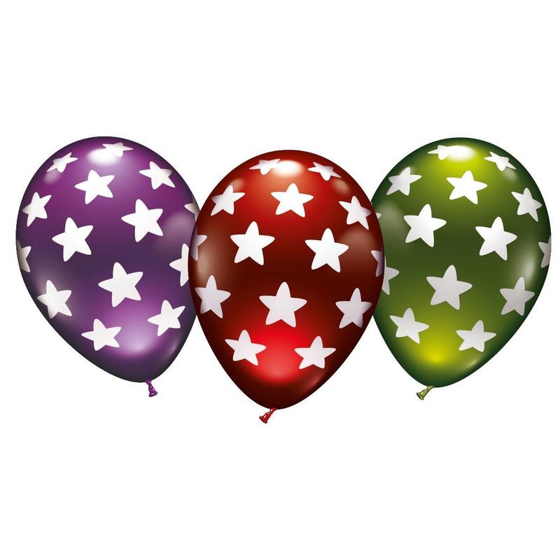 6x stuks luxe Metallic ballonnen met sterren 30 cm