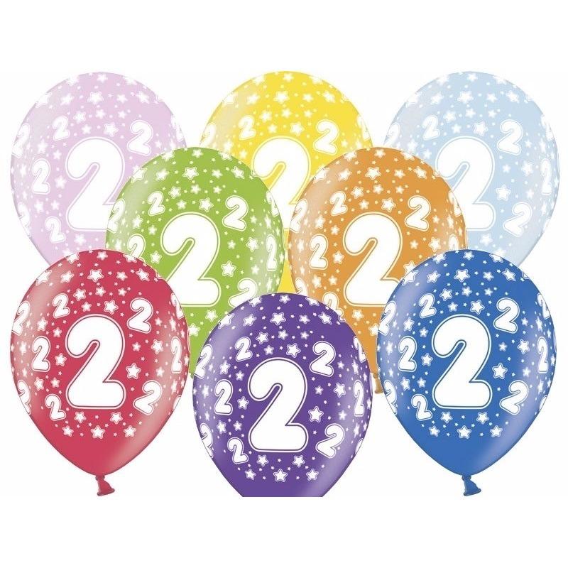 6x stuks verjaardag ballonnen 2 jaar thema met sterretjes
