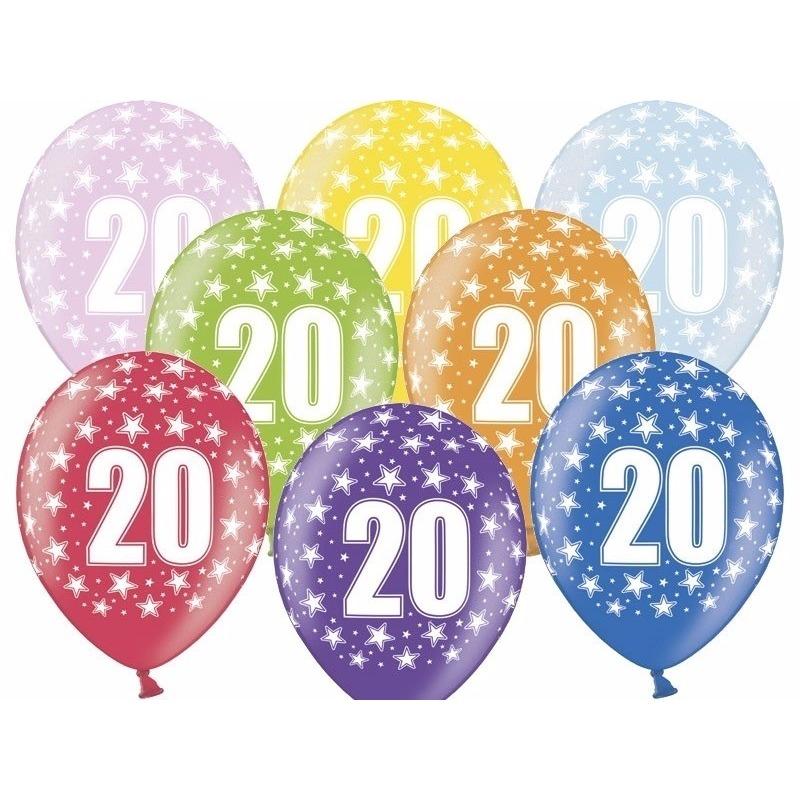 6x stuks verjaardag ballonnen 20 jaar thema met sterretjes