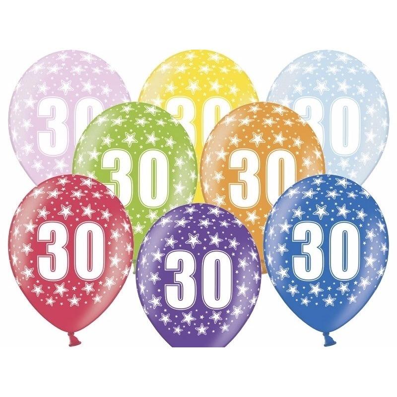 6x stuks verjaardag ballonnen 30 jaar thema met sterretjes