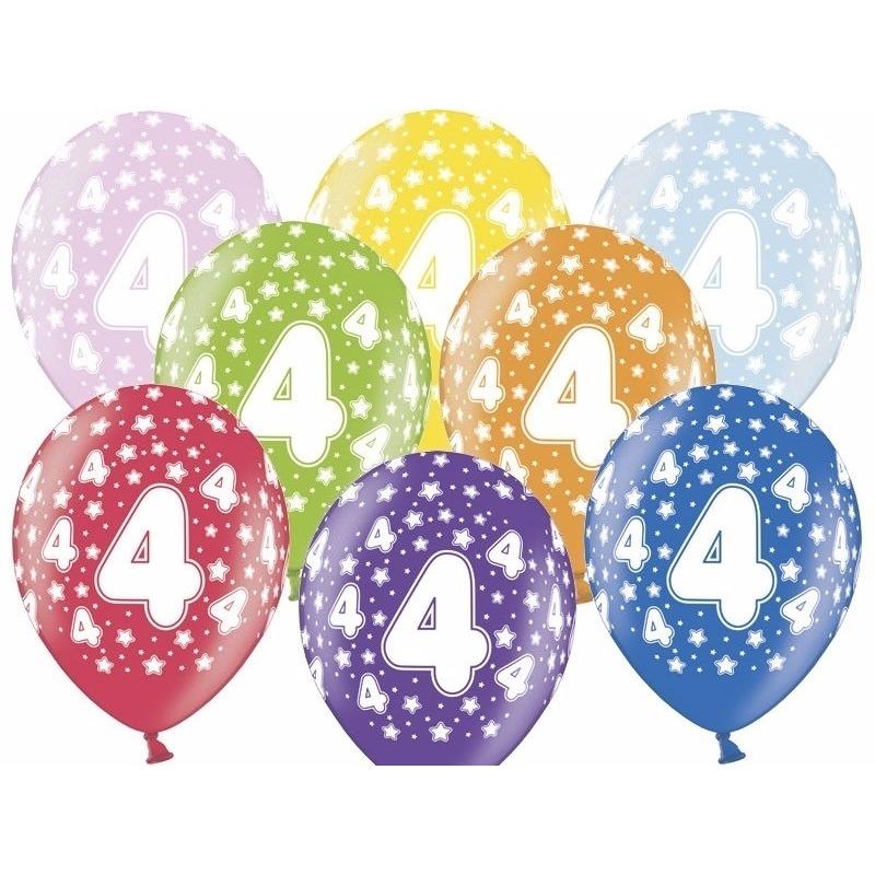 6x stuks verjaardag ballonnen 4 jaar thema met sterretjes