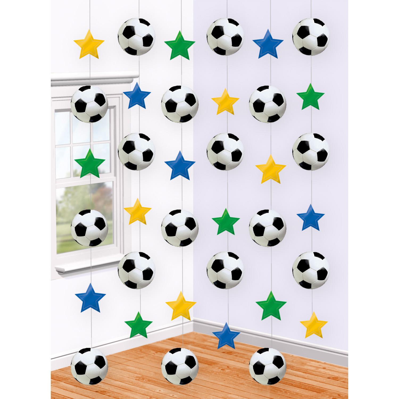 6x stuks Voetbal papieren slingers hangdecoratie 2 m