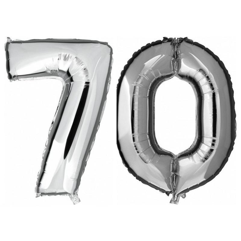 70 jaar zilveren folie ballonnen 88 cm leeftijd/cijfer