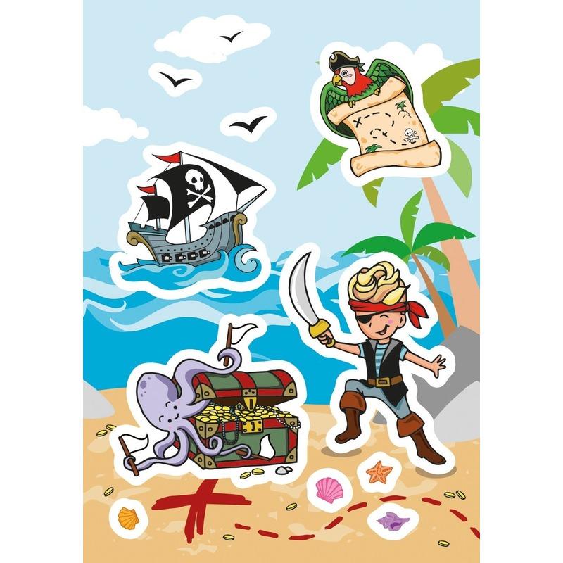 72x Piraten en schatkisten stickers