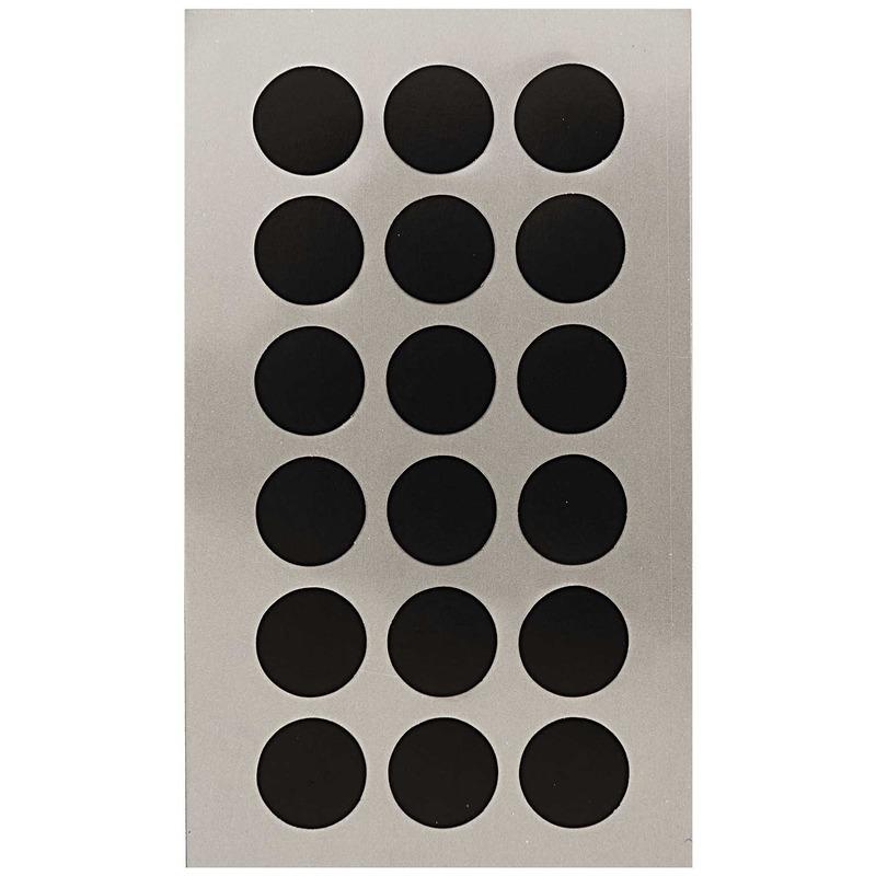 72x Zwarte ronde sticker etiketten 15 mm
