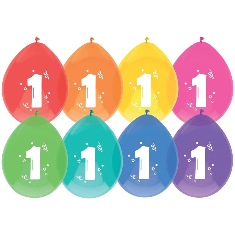 8x Ballonnen 1 jaar verjaardag/leeftijd versiering