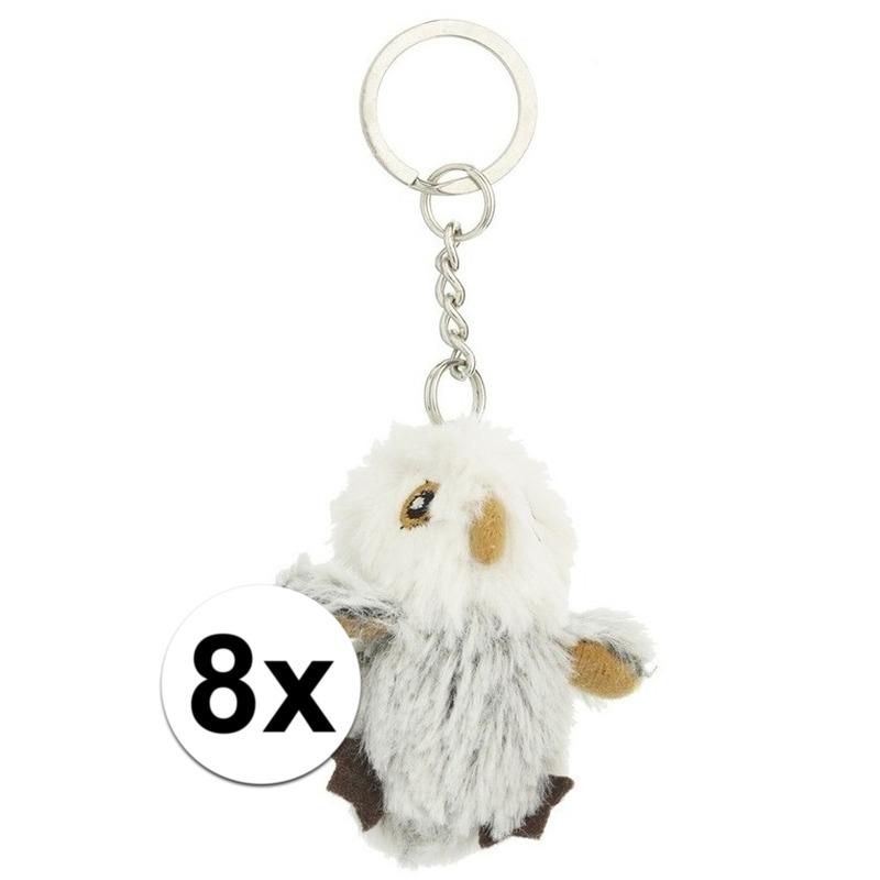 8x Pluche uilen sleutelhangers van 6 cm