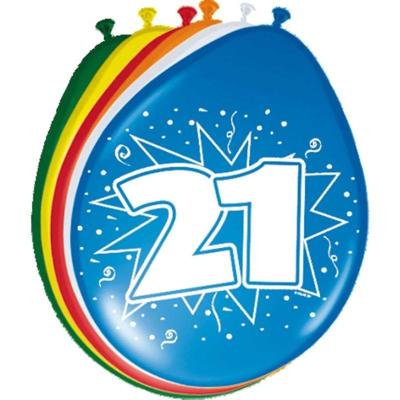 8x stuks ballonnen 21 jaar