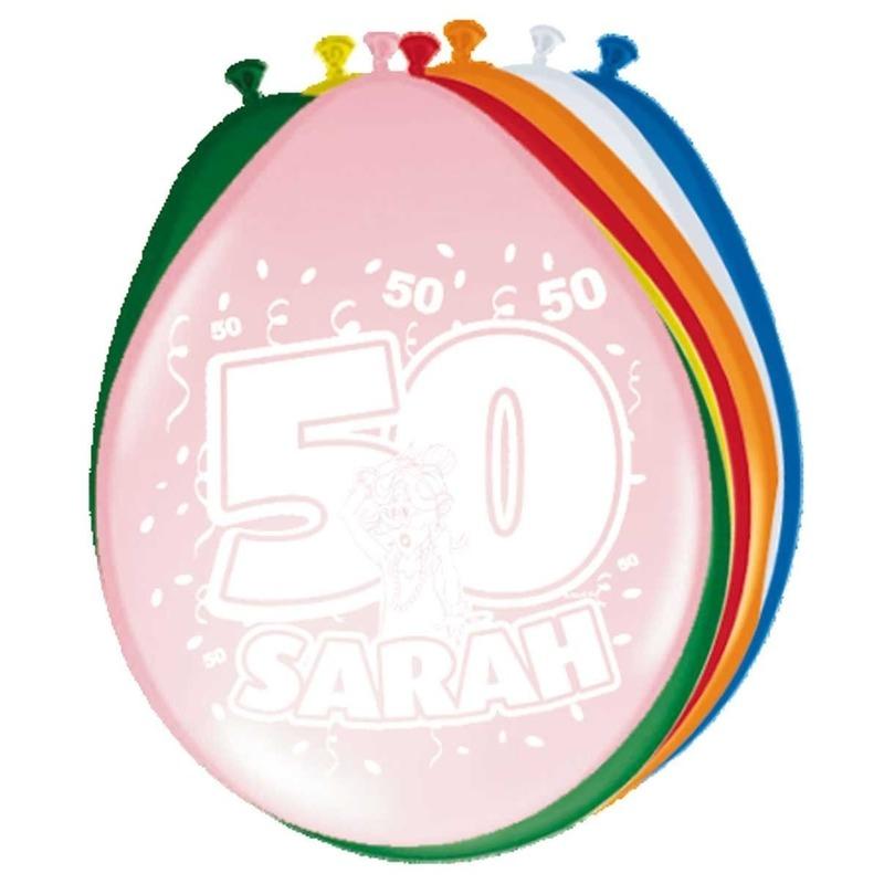 8x stuks ballonnen 50 jaar Sarah
