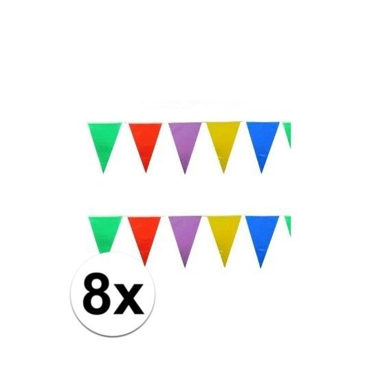 8x stuks feest vlaggenlijnen 10 meter
