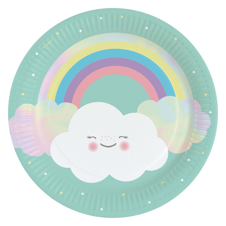 8x stuks feestbordjes met wolken print karton 23 cm